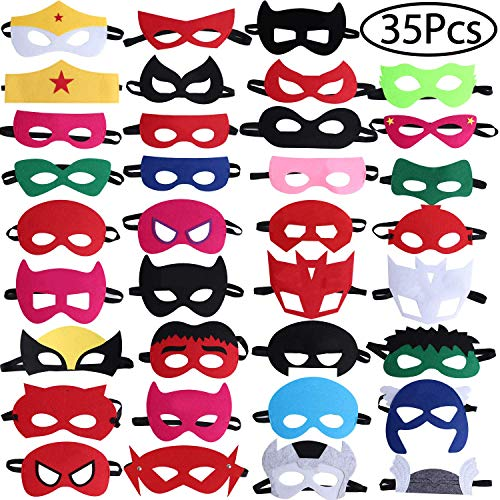Standie 35PCS Kids Masks for Superhero Birthday Party Favors Cosplay for Children Aged -