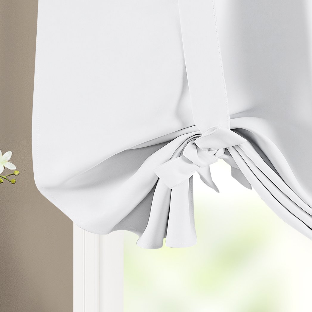 White BETTER HOME USA BHU Thermal Insulated Blackout Balloon Curtain for Small Window Adjustable Tie-up Rod Pocket Balloon Shade Curtain 46W by 63L Inches