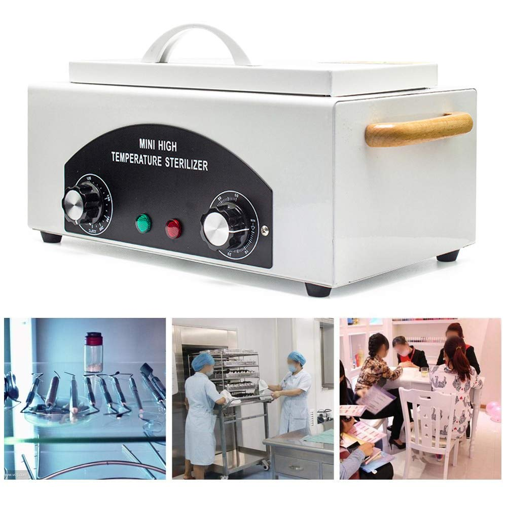 Soiiw High Temperature Sterilizer Box 300W 1.5L Manicure Pedicure SPA Salon Equipment-Tattoo Autoclave Manicure Sterilizer for Beauty Nail Metal Tools by Soiiw