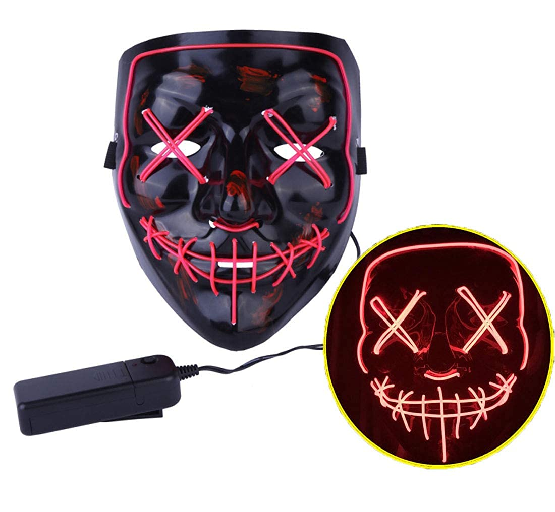 JYOHEY Halloween LED Mask LED Light Up Mask El Wire Mask LED for Cosplay Festivals Parties Costumes
