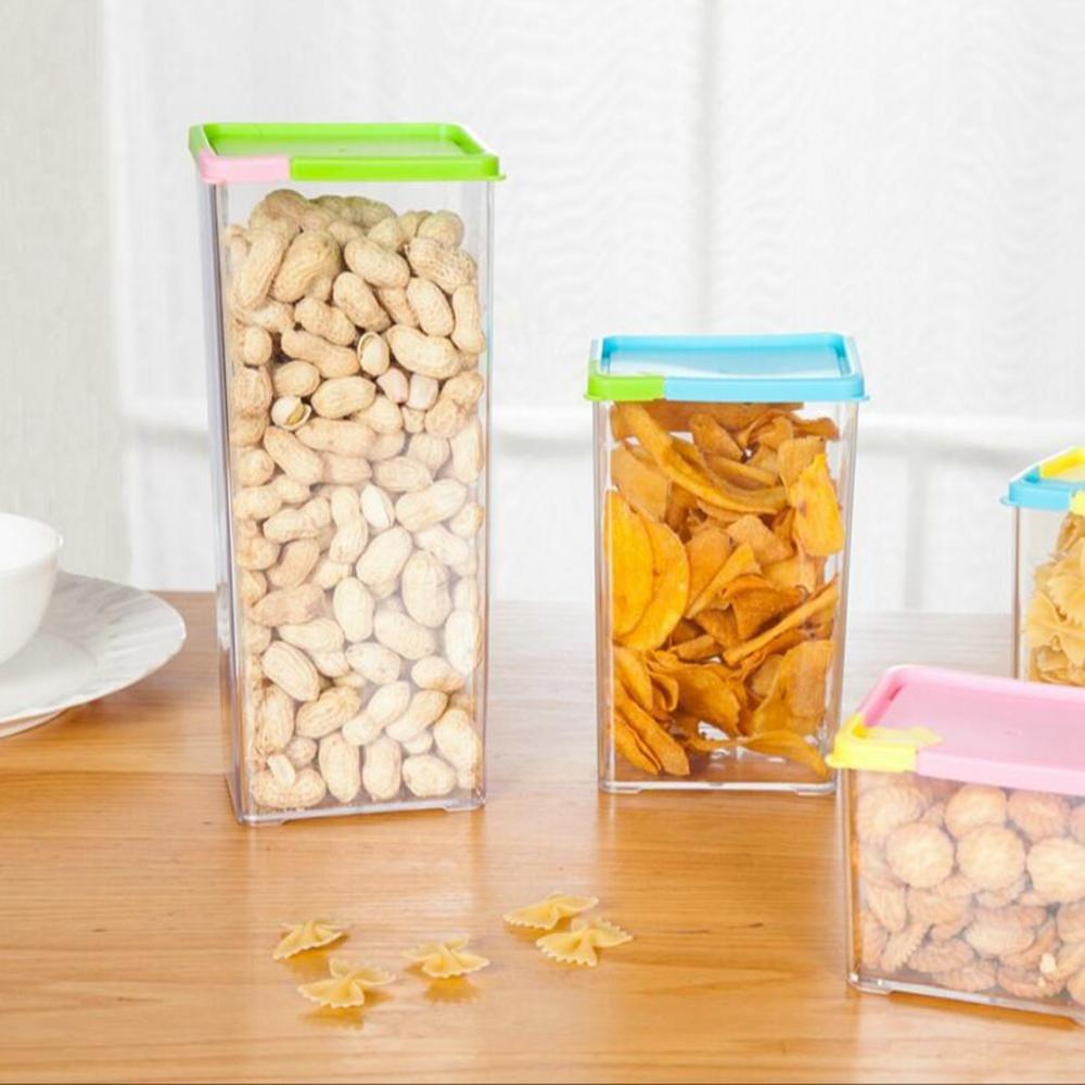 Z@SS-Peut /être empil/é scell/é bidons en plastique c/ér/éales c/ér/éales stockage bo/îtes de conserve alimentaire carr/é carr/é r/éfrig/érateur nouilles coffret 4 Pcs