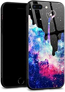 ZHEGAILIAN iPhone 8 Plus Case, Space Galaxy iPhone 7 Plus Cases for Men Boy, Tempered Glass Back Pattern with Soft TPU Bumper Case for Apple iPhone 7/8 Plus Case 5.5-inch Galaxy