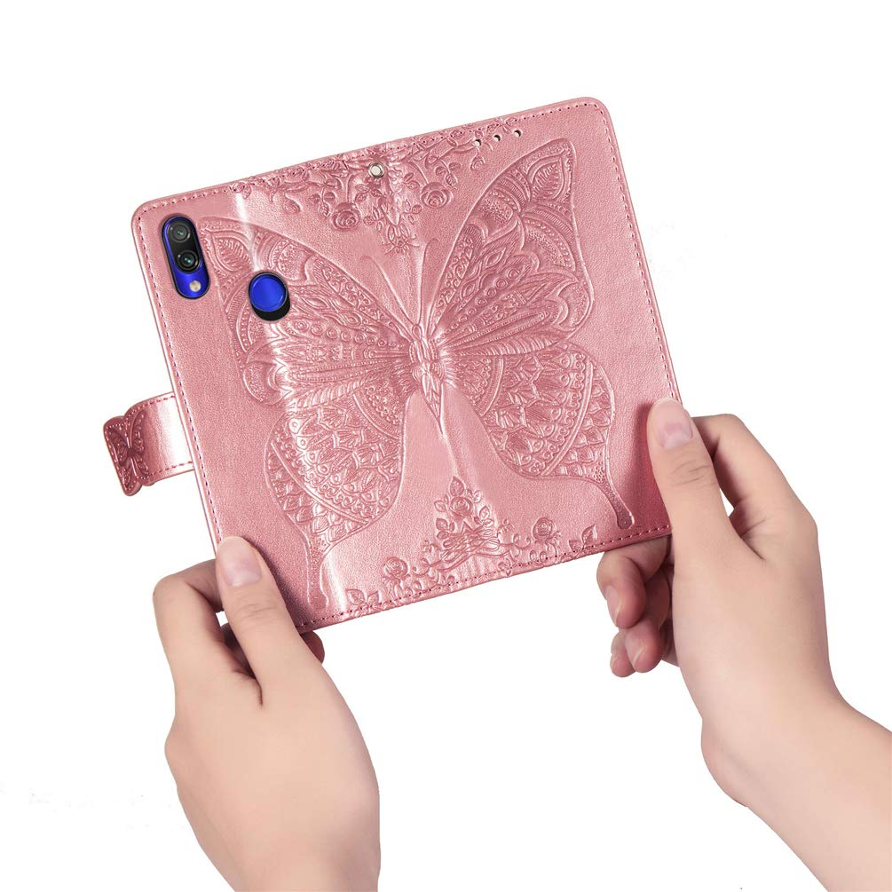 Samsung Galaxy A20e Case Shockproof Premium PU Leather Flip Notebook Wallet Cover Embossed Butterfly with Magnetic Closure Stand Card Holders Soft TPU Bumper Protective Cases Bright purple
