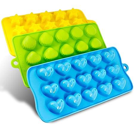 Senhai Silikon Molds 3er Packung Bonbons, Schokolade Formen EIS-Würfel-Behälter - Hearts, Stars & Muscheln, Spaß, Spielzeug f