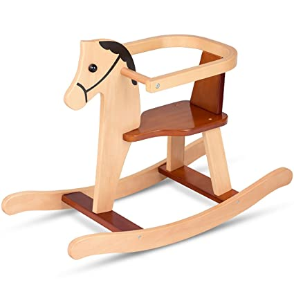 Costzon Wood Rocking Horse Rock And Ride Chair For Baby Toddler Nursery Room Cute Secure Rocking Horse With Guardrail Smooth Handle Bars