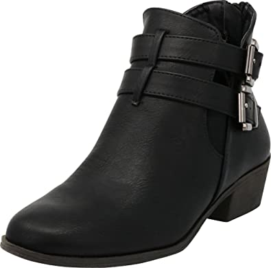 8c82e901bd6d Cambridge Select Women s Closed Toe Double Buckled Strap Side Cutout Chunky  Low Heel Ankle Bootie