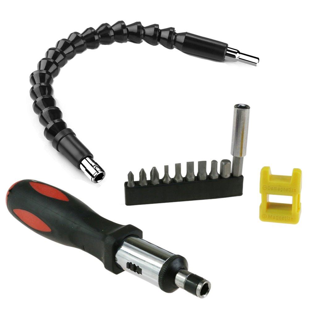 Albero/prolunga flessibile per punte di cacciavite e trapano, con magnetizzatore e smagnetizzatore per cacciavite, manico del cacciavite con cricchetto magnetico, set di punte per cacciavite