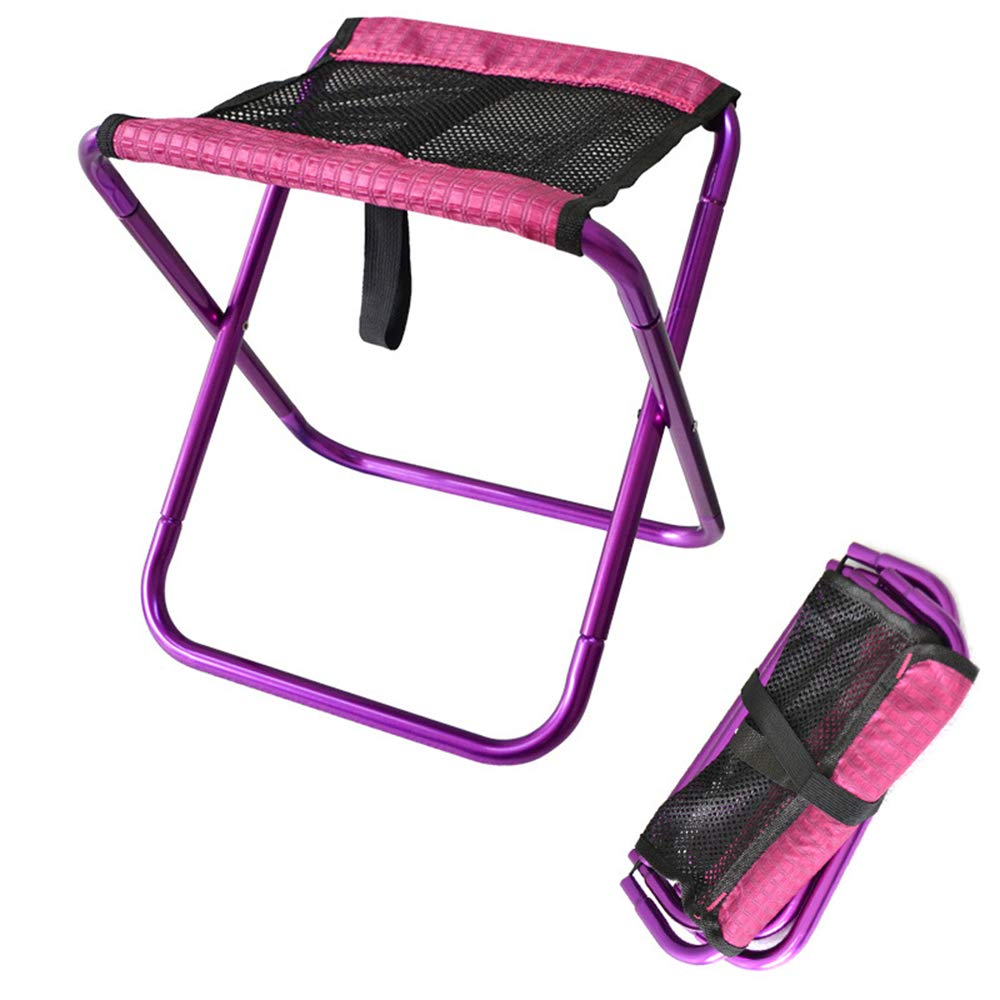 Purple Outdoor Folding Chair, Portable Light Fishing Camping Barbecue Train Bench Folding Stool,Red