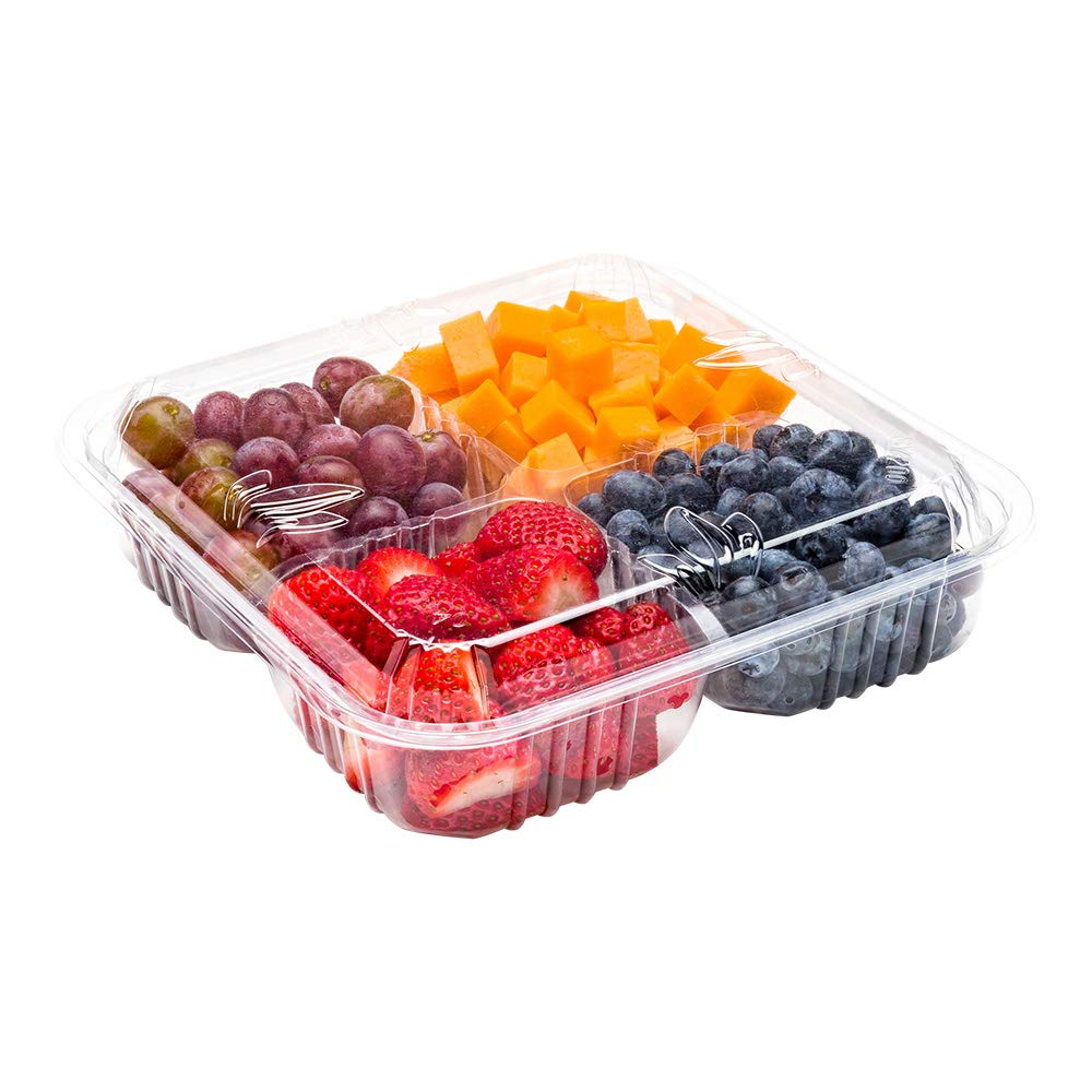 Thermo Tek Recyclable 4 Section Serving Platter with Lid Clear 8.3 inch 100 count box