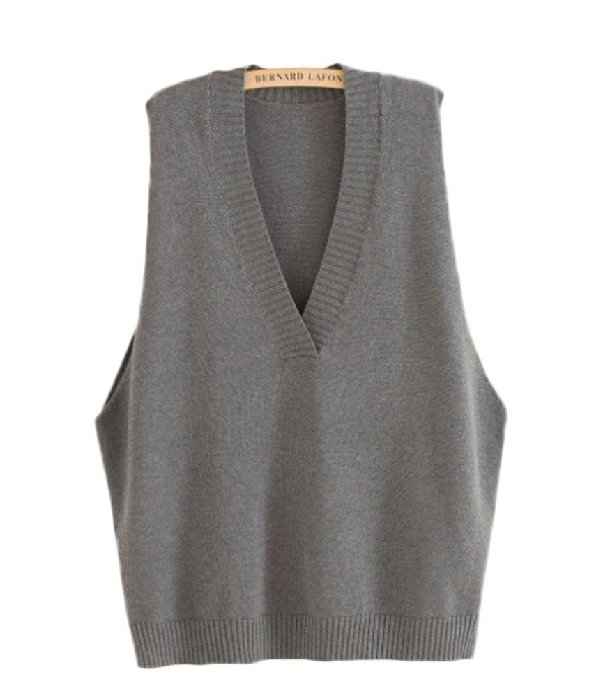 King Ma Womens Casual Sleeveless Pure Color Loose V Neckline Knit Waistcoat (Dark Gray)