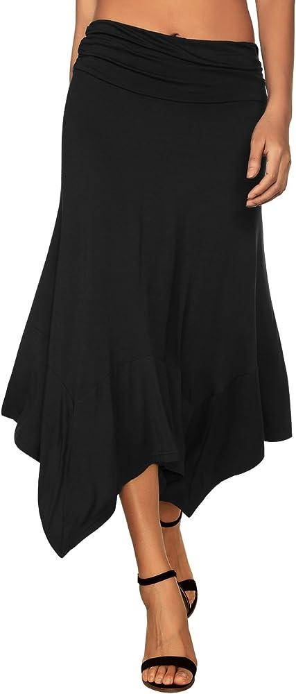 DJT-Falda de Punto para Mujer con Dobladillo Irregular Negro Small ...