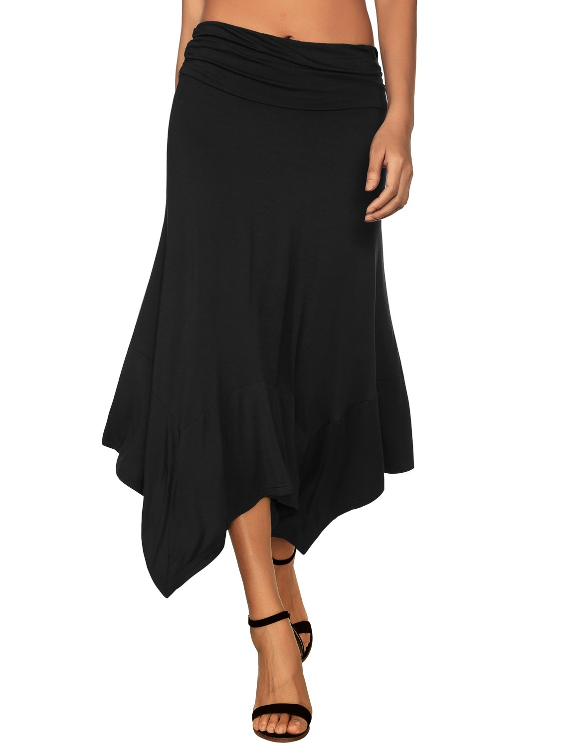 DJT Women's Flowy Handkerchief Hemline Midi Skirt Medium Black