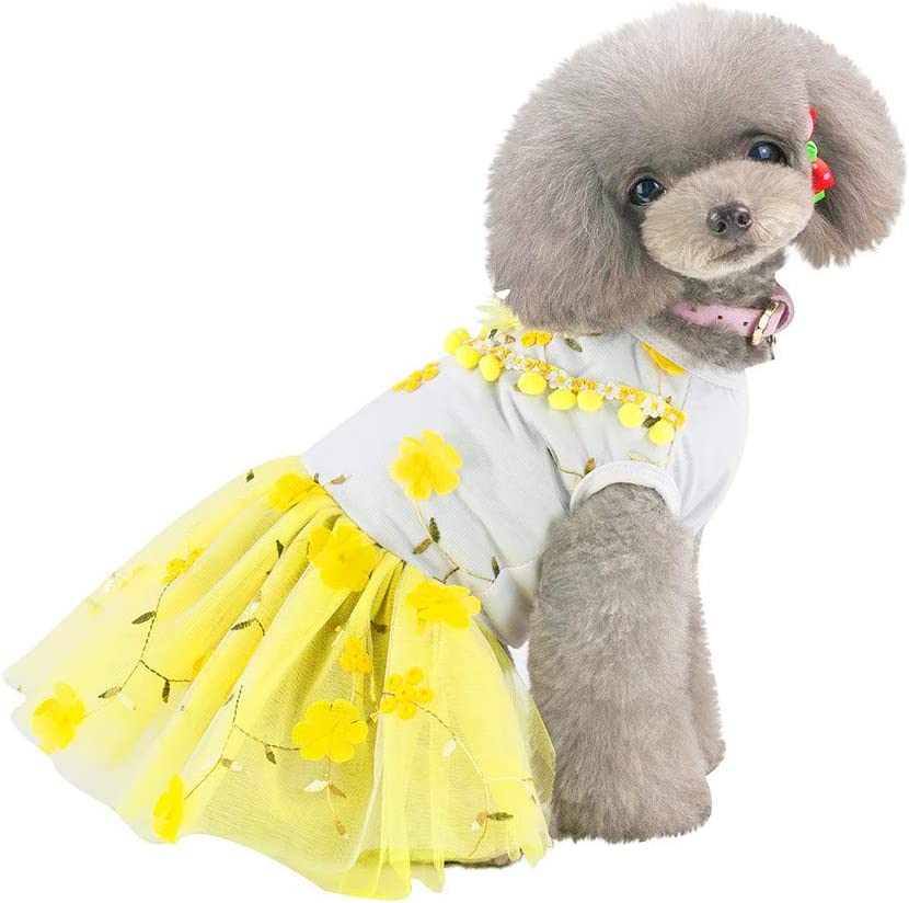CGKUITER Small Dog Girl Dress Pet Fashionable Cute Small Bags Jumpsuit Dress Pet Skirt Outfit Pet Puppy Clothes