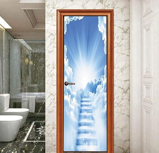 IUEVX Papel Pintado para la Puerta Habitación para niños Escalera en la Escalera Etiqueta de Pared PVC Extraíble: Amazon.es: Hogar