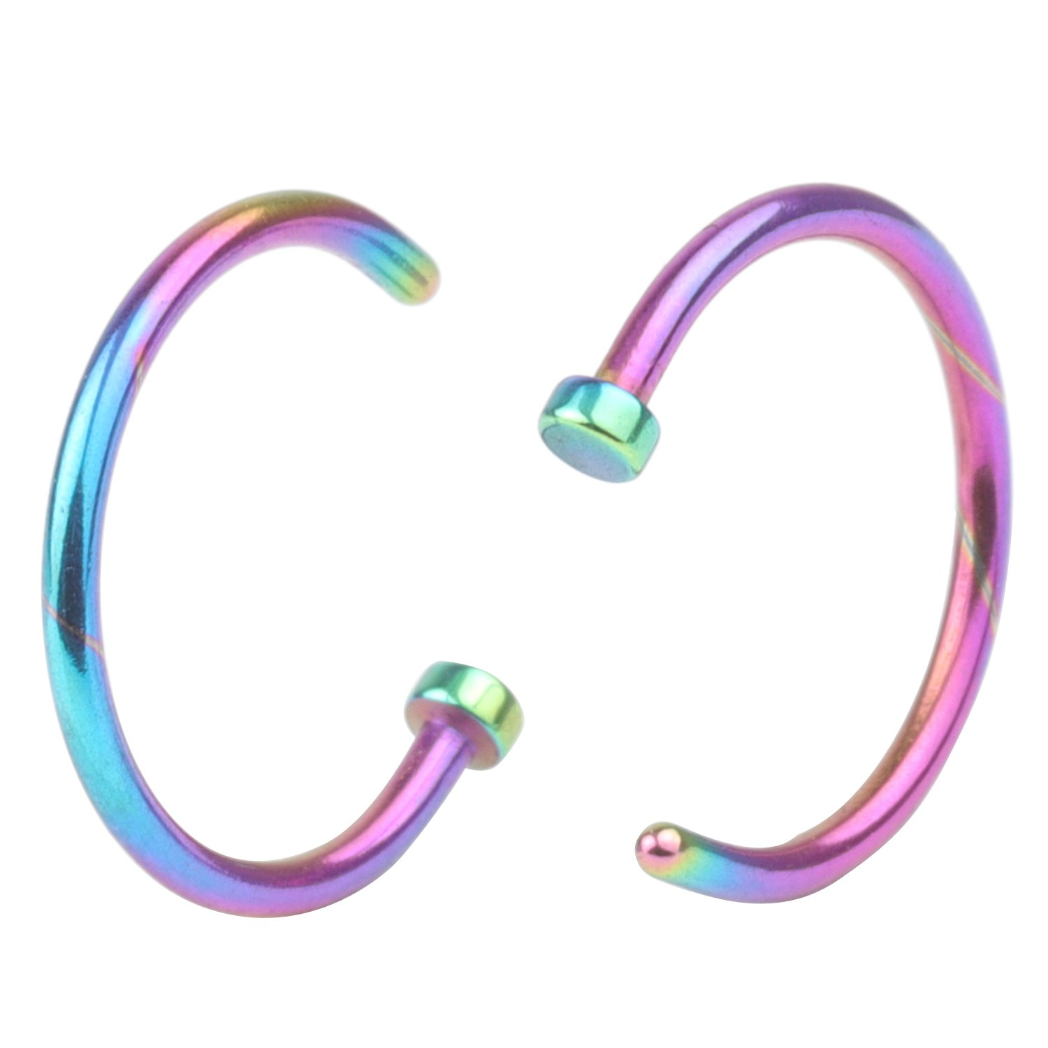 CM A+ 2Pcs 20G 10mm Hot Colorful Stainless Steel Nose Open Hoop Ring Earring Body Piercing Studs Jewelry Set Fashion Piercing Jewelry