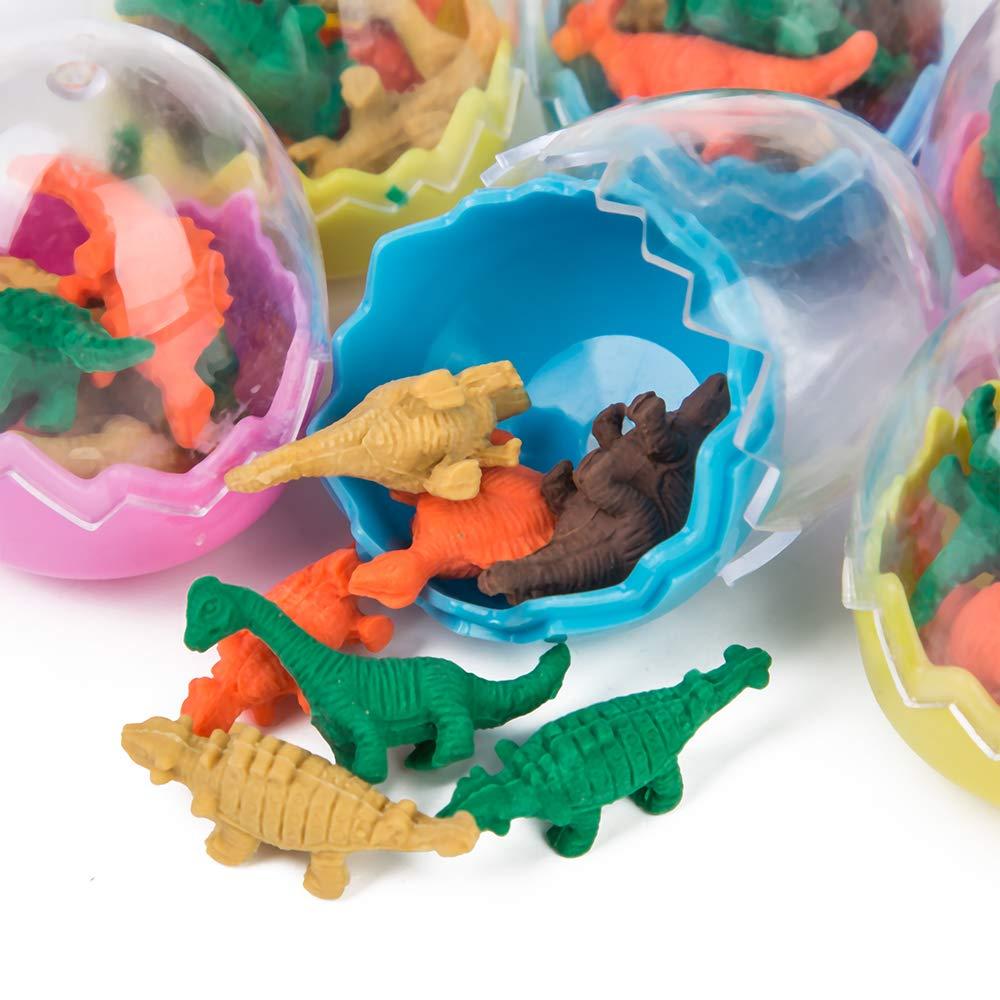 PROLOSO 24 Pcs Dinosaur Erasers Mini Easter Eggs Animal Pencil Erasers Toys for Kids