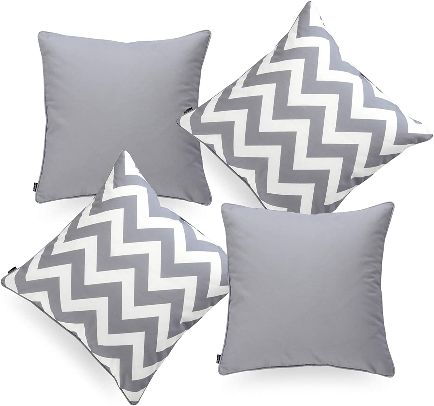 Hofdeco Indoor Outdoor Pillow Cover ONLY, Water Resistant for Patio Lounge Sofa, Gray White Solid Zigzag Chevron, 18 x18 , Set of 4
