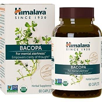 Himalaya Organic Bacopa/Brahmi, 60 Caplets for Mental Alertness, Cognitive Health & Memory Support 750mg