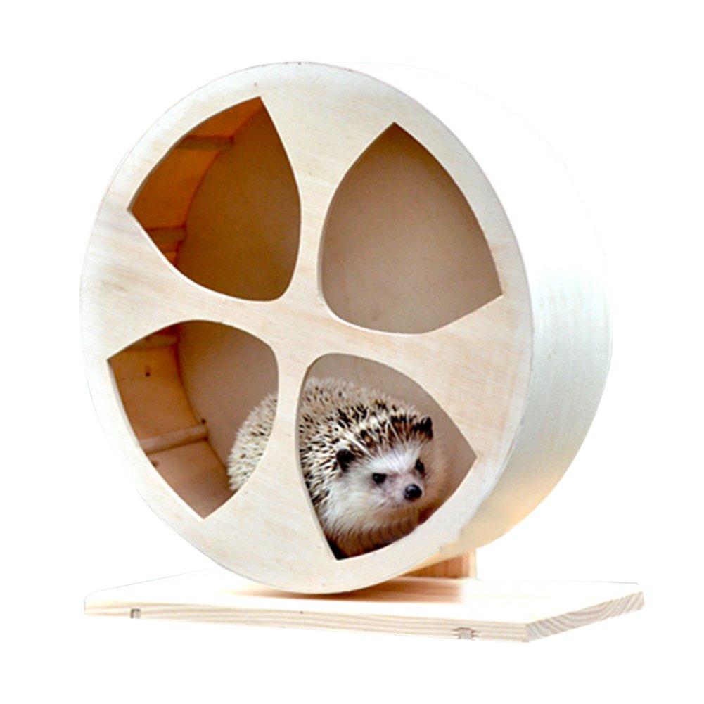 Ozzptuu Wooden Hamster Silent Exercise Running Wheels Small Animals Climbing House Pet Habitats Toys