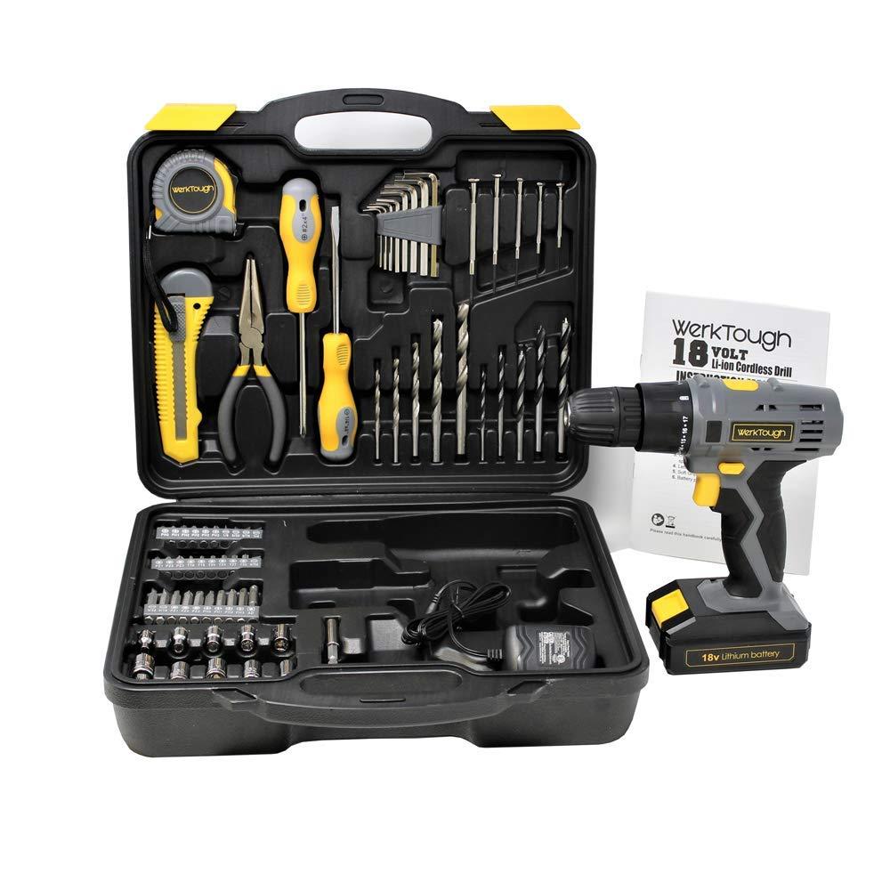 Toolman Cordless Drill Screwdriver 77pc w/Hex key measure tape knife drill bit socket works with DeWalt Makita Ryobi