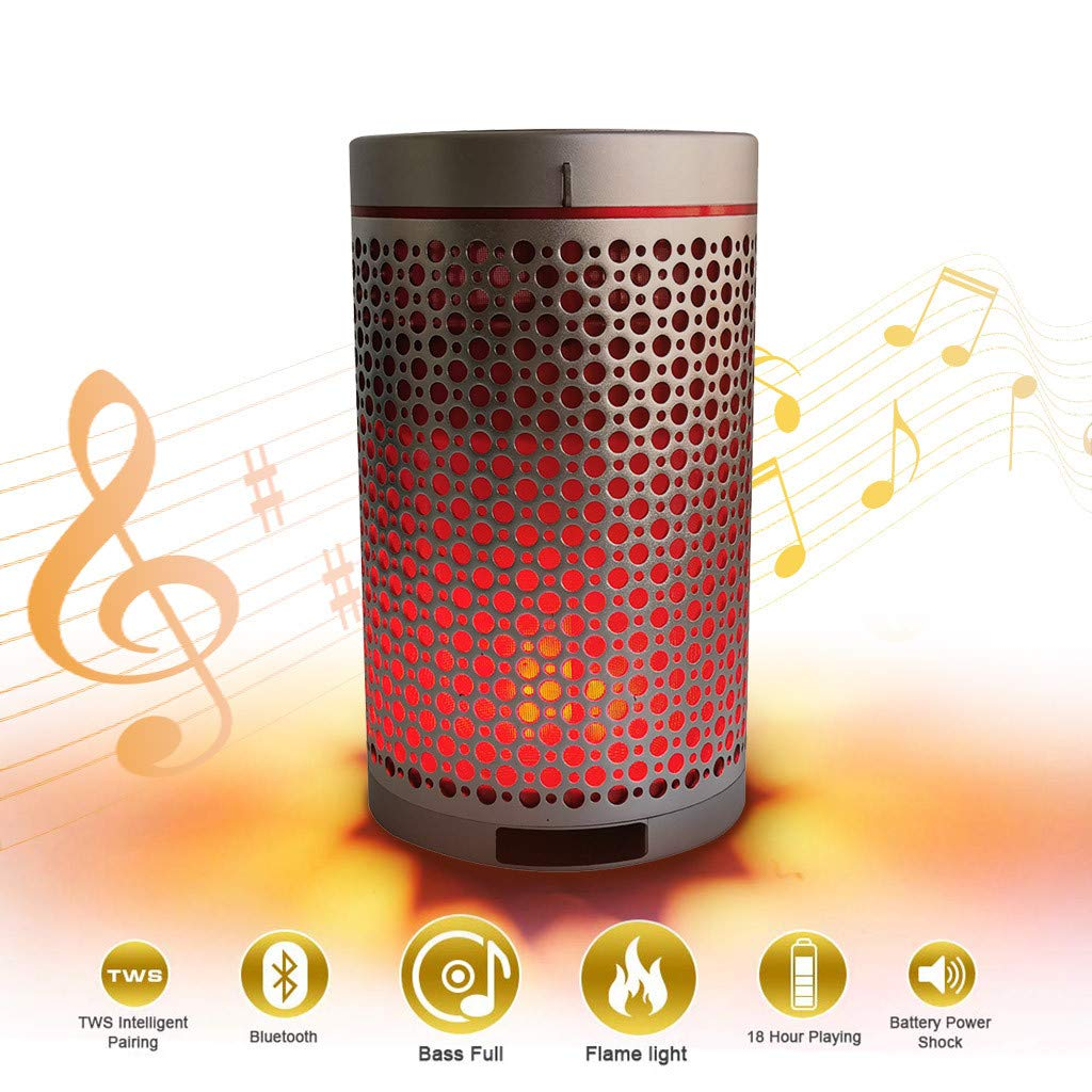 charts_DRESS Portable Wireless Speakers, New Upgraded Flame Outdoor Speakers with Stereo Sound, Lamp Romantic Speakers Sound Wave Unleash Your Music for iOS Android (Silver)