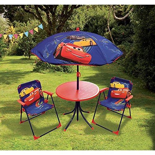 FUN HOUSE DISNEY CARS Salon De Jardin Pour Enfant Comprenant 1 Table 2 Chaises Pliables