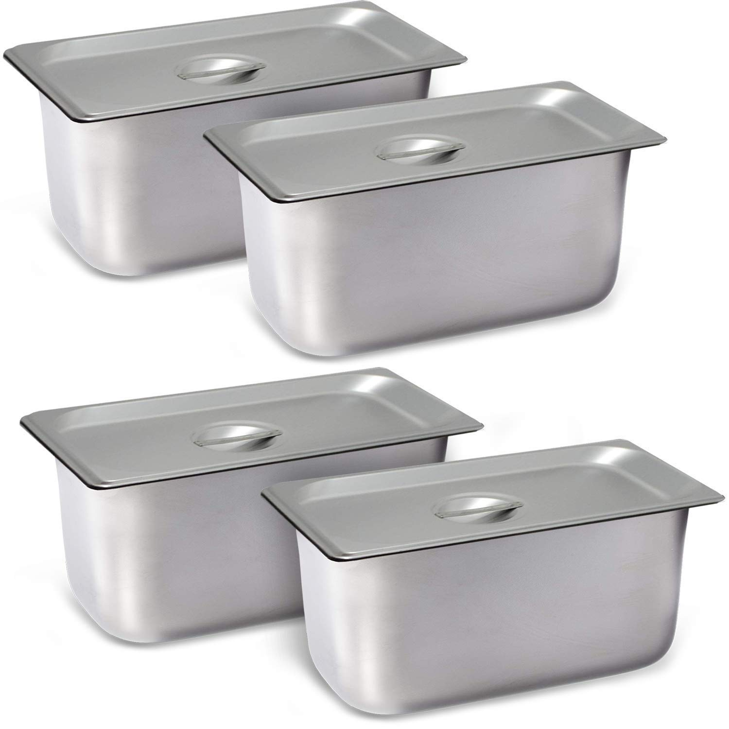 "4 Pack Steam Table Pan Third Size with Cover, Hotel Pan is 6"" Deep, Made from 25 Gauge Stainless Steel, NSF Listed"