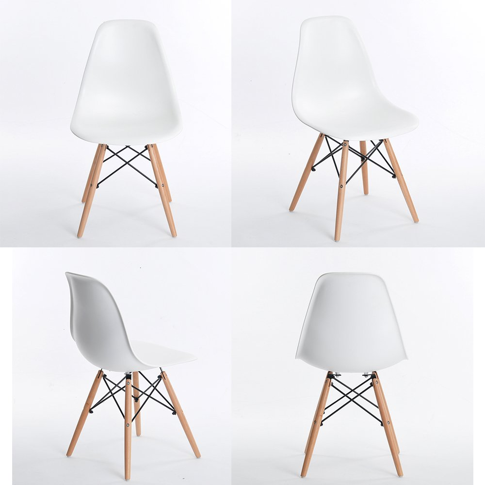 4 X White Eames Chairs Inspire Eiffel DSW Retro Lounge Cafe Office Dining  Chair
