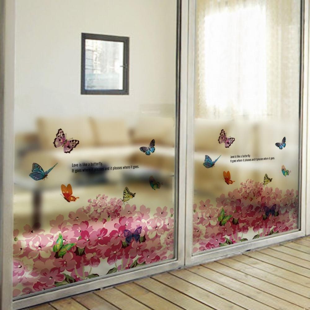 weiwei WEI Adesivi murali finestra porta scorrevole bagno con pellicola di vetro smerigliato bagno balcone ortensia, Immagine, Taglia unica