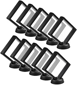 CrazyStorey Set of 10 Pcs Black 3D Floating Frame Display Holder Stands ,Medallions, Jewelry,Challenge Coin,3.6 x 3.6 x 0.8inches
