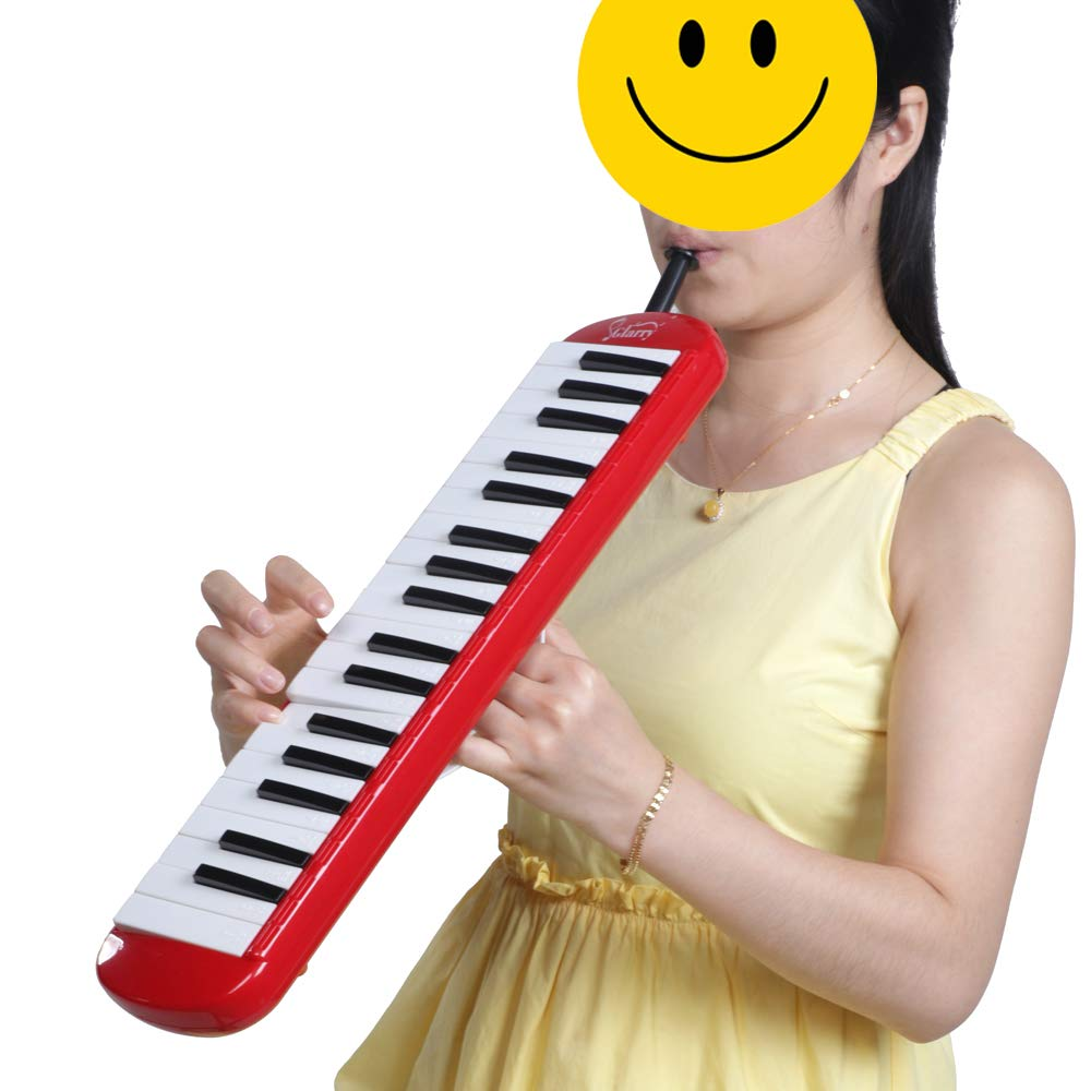 Festnight 37 Key Melodica Mouthpiece Bag Piano Style Pianica with Carrying Bag and Cleaning Cloth 37-Key Portable Melodica Red by Festnight (Image #2)