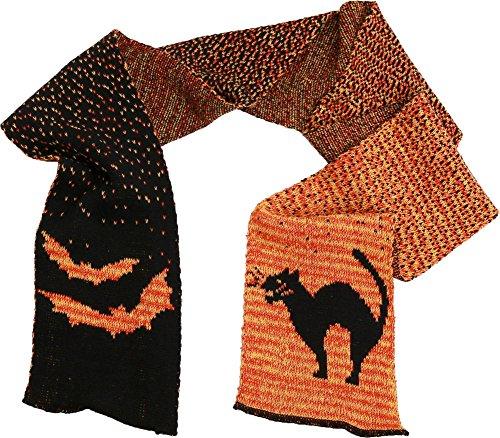Halloween Fashion Scarf (Black/Orange Cat & Bats)