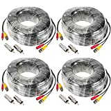 KKmoon 4 Pack 98ft Video Power Security Camera Extension Cable Wire for CCTV DVR CCD Security Cameras Surveillance System with BNC to RCA Adaptor
