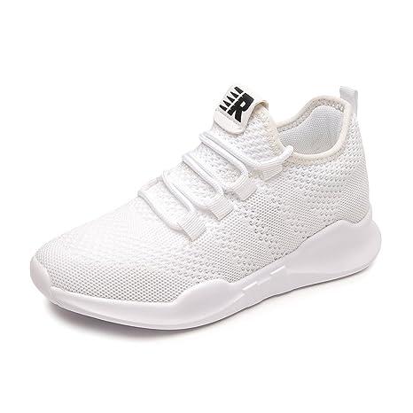 SHI Zapatillas Deportivas Blancas - Zapatillas de Deporte Transpirables de Malla para Mujer Zapatos de Cordones