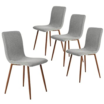 493a76859661c Coavas Set of 4 Kitchen Dining Chairs, Assemble All 4 in 5 Minutes, Fabric  Cushion Side Chairs with Sturdy Metal Legs for Home Kitchen Living Room, ...
