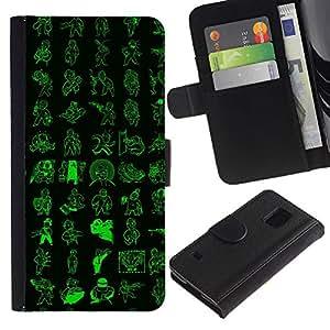 LECELL--Cuero de la tarjeta la carpeta del tirón Smartphone Slots Protección Holder For Samsung Galaxy S5 V SM-G900 -- Patrón de Vault Boy --