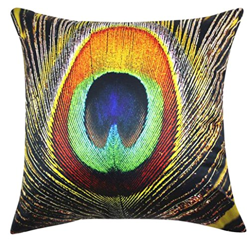 Baishitop Peacock Feathers Luxury Beautiful Square Pillowcases- 45cm*45cm (B)