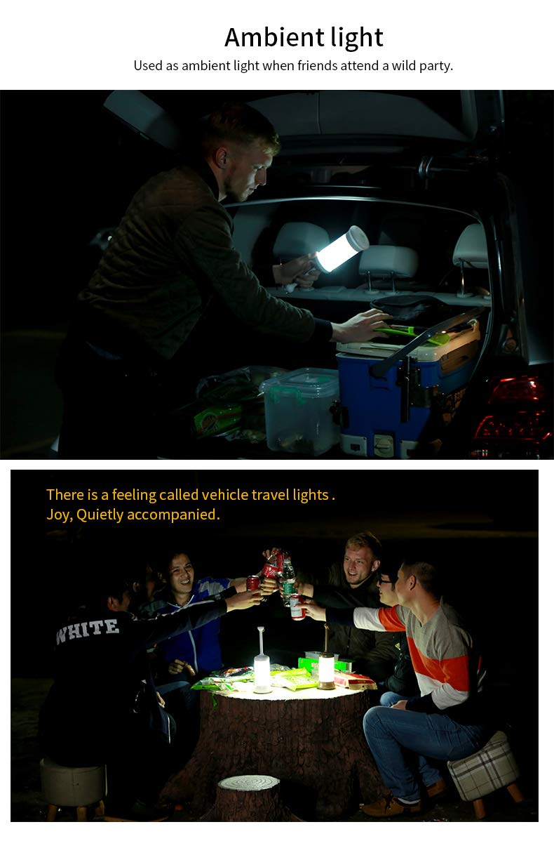 Nanum Camping Lantern Led USB Rechargeable Night Light Bedside Vehicle Emergency Travel Lamp Portable with 4 Modes Specially Designed for Home Garden and Outdoor Survival Activities Black