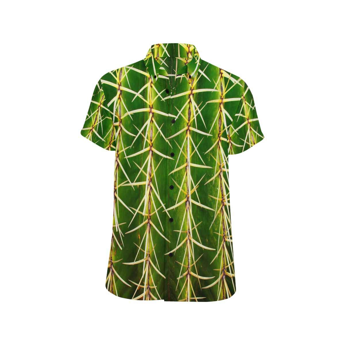 InterestPrint Golden Barrel Cactus Casual Shirt Stand Collar Short Sleeve Beach Top for Men