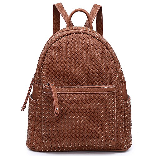 Womens Fashion Backpack Purse Unisex Shoulder Bag Large Functional Handbag For Teen Vegan Leather (Woven Brown)