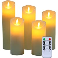 "Flameless Candles, 5"" 6"" 7"" 8"" 9"" Set of 5 Real Wax Not Plastic Pillars Include Realistic Dancing LED Flames and 10-key Remote Control with 2/4/6/8-hours Timer Function,300+ Hours -YIWER (5x1, Ivory)"