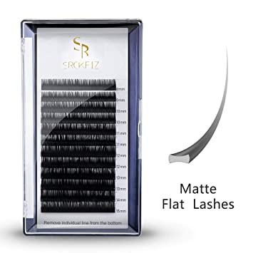 1ac87ead732 Flat Lash Extensions .20mm Thickness, C Curl Ellipse Eyelash Extensions  Black Matte Single Lashes