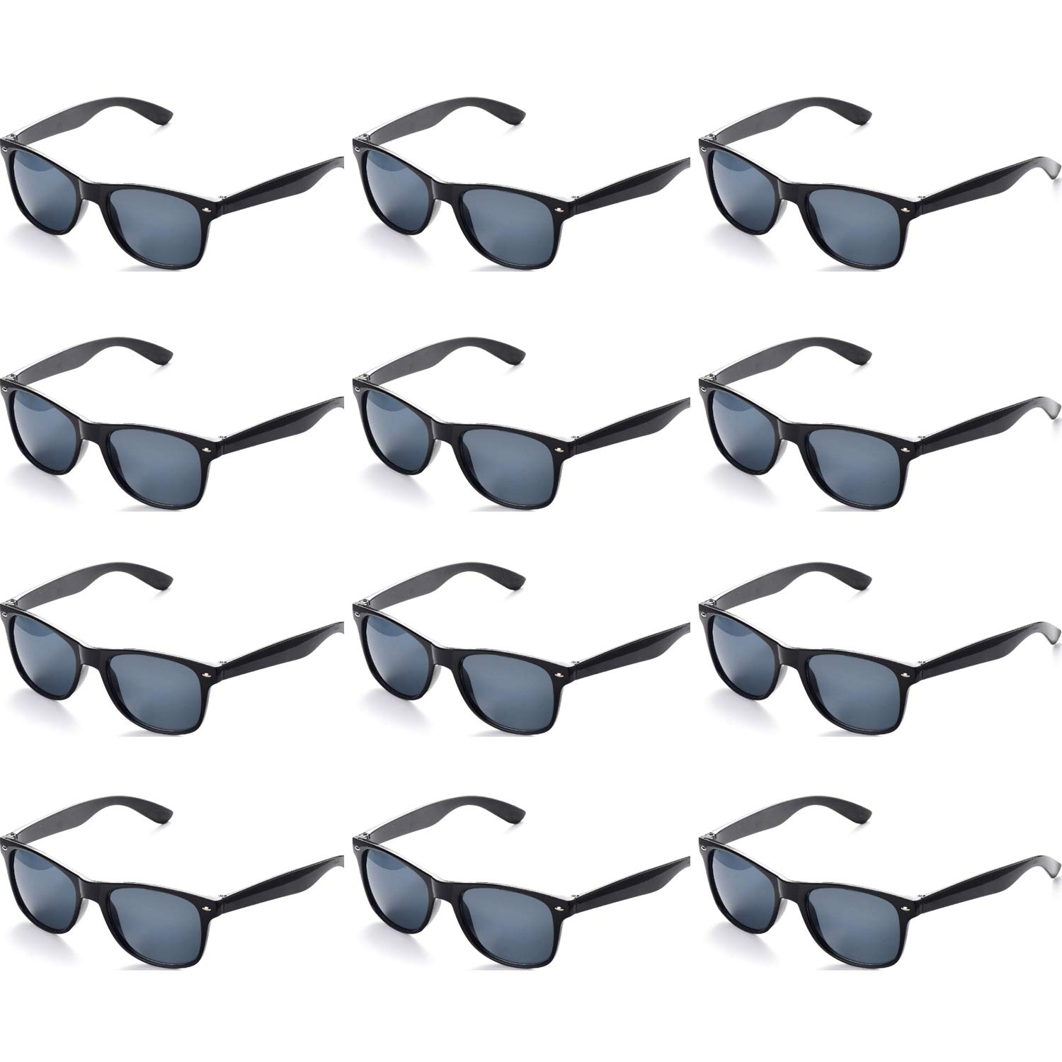 OAONNEA 12 PACK Retro Vintage Party Sunglasses for Adults Mens Womens Kids Girls Boys UV400 Protection black
