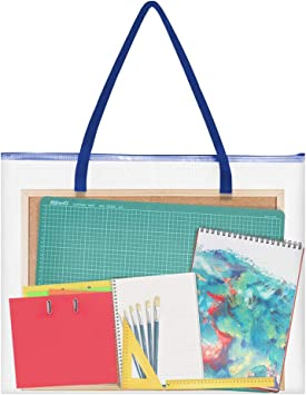 Art Portfolio Bag Artworks Opret 19x25 Vinyl Storage Bag with Zipper and Handle Posters Organizer Transparent White Bag for Bulletin Boards Charts and Teaching Material