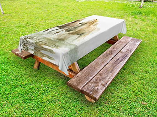 Ambesonne Horses Outdoor Tablecloth, Camargue Horses in Water Ancient Oldest Breed Southern France Origin Artful Photo, Decorative Washable Picnic Table Cloth, 58 X 120 inches, White Beige