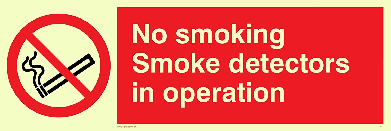 Viking signos ps7-l31-pvno fumar detectores de humo en funcionamiento signo, pegatina, photoluminescent, 100 mm H x 300 mm W: Amazon.es: Amazon.es