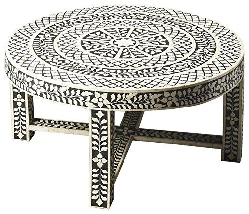 Inlay Sofa Table - Butler Specialty Co. Amanda Black Bone Inlay Cocktail Table