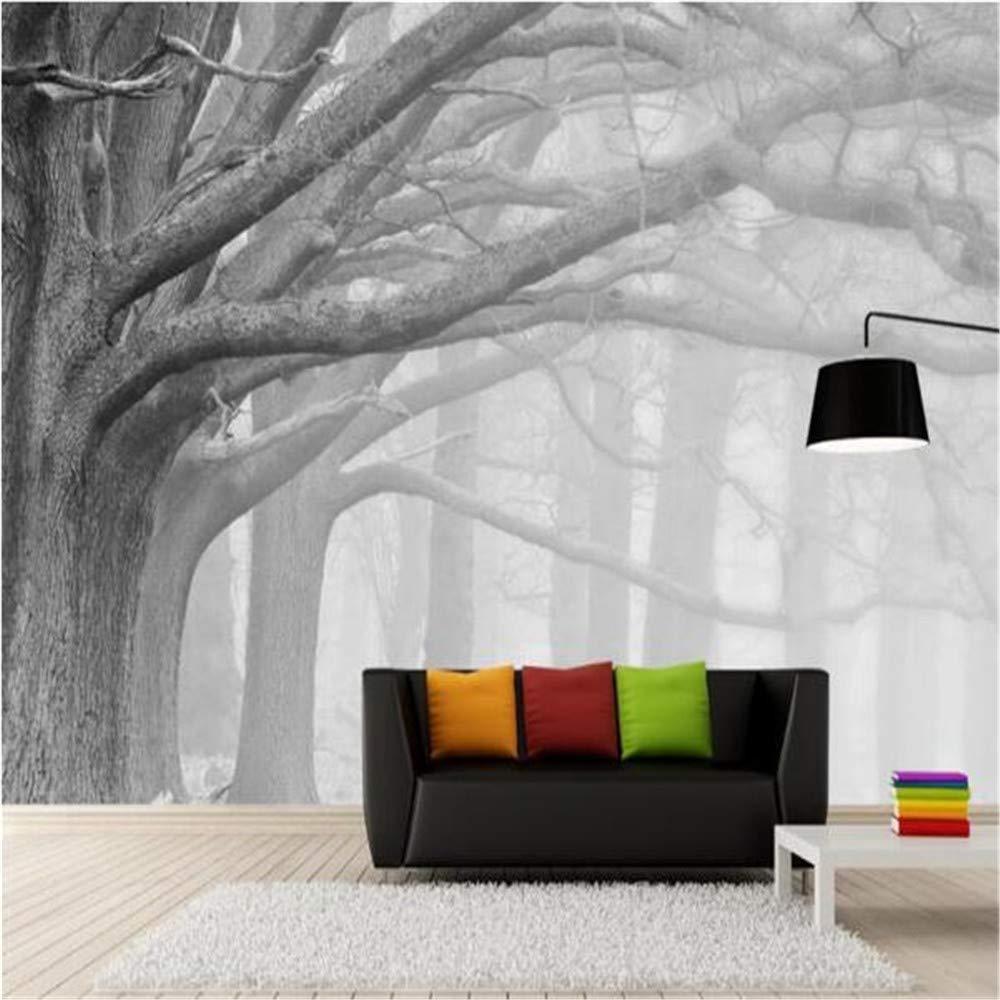 Mural de Papel para Bosque de 315x232cm Negro Y Blanco Foto Wallpaper Habitación Pared Arte