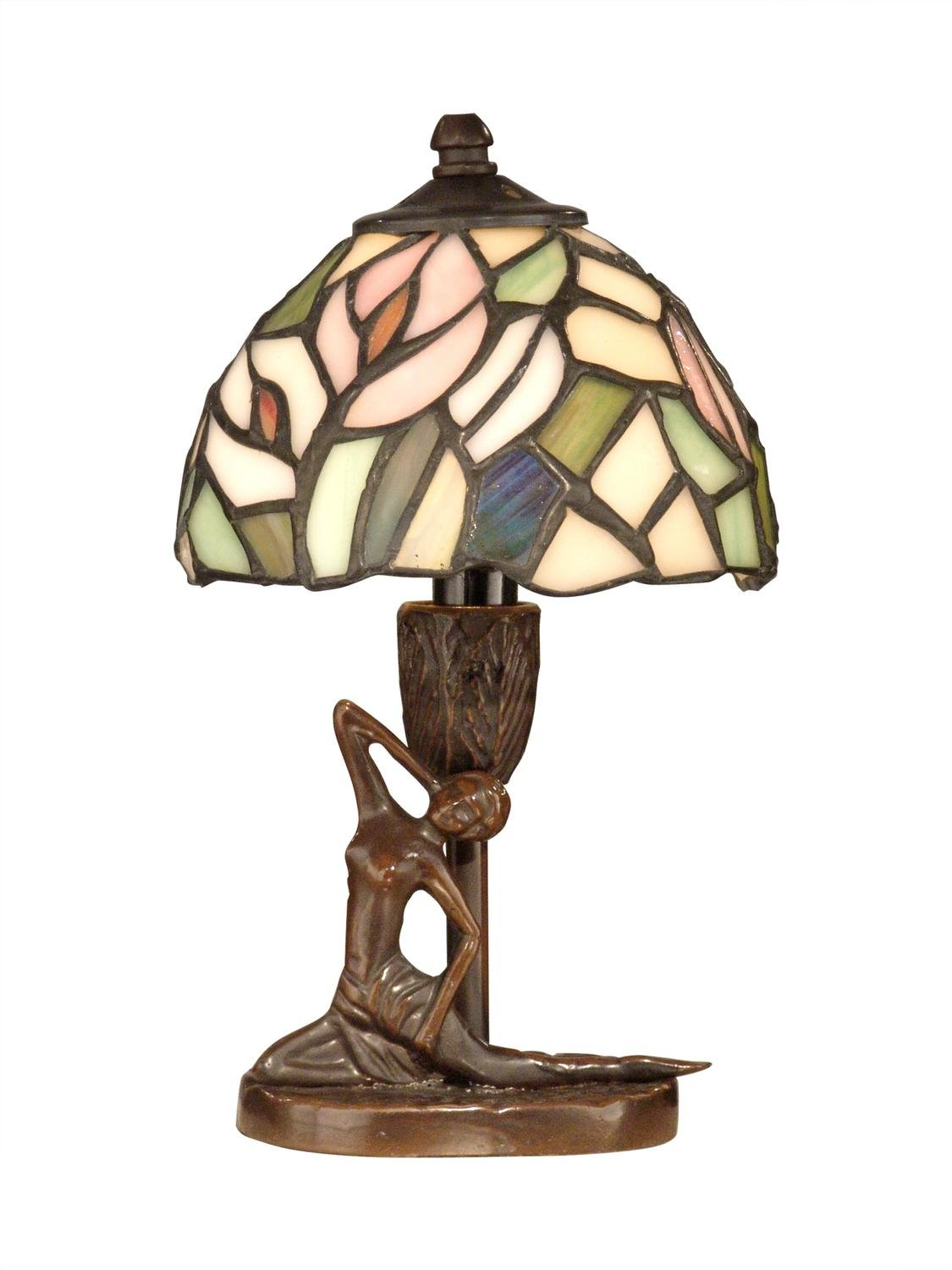Diva At Home 9.5'' Antique Bronze Lady Hand Crafted Glass Tiffany-Style Accent Lamp