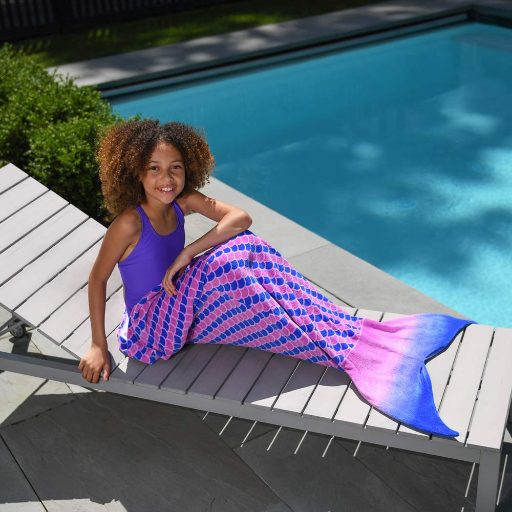 Toweltails 100% Cotton Mermaid Tail Shaped Towel for Girls 55'' long perfect for the Beach Pool or Bath in Pink and Purple by Toweltails (Image #4)